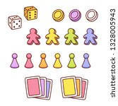 board game pieces set in cute... | Shutterstock . vector #1328005943