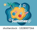 top view beach background with... | Shutterstock .eps vector #1328007266