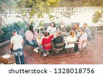 happy family eating and... | Shutterstock . vector #1328018756