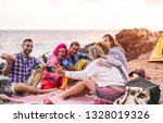 happy friends doing party at... | Shutterstock . vector #1328019326