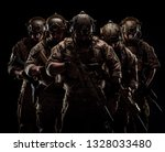Special forces United States soldiers during the military operation.  army and people concept