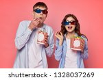 young couple in the cinema goes ... | Shutterstock . vector #1328037269
