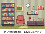 library room interior stack of...   Shutterstock .eps vector #1328037449