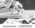 stack of newspapers and news... | Shutterstock . vector #1328038283