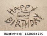 happy birthday message... | Shutterstock . vector #1328086160