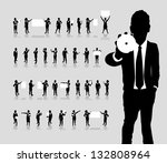 business people silhouette | Shutterstock .eps vector #132808964