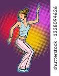 girl in pink pants. woman disco ... | Shutterstock .eps vector #1328094626