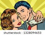couple in love  money salary...   Shutterstock .eps vector #1328094653