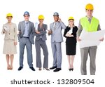 team of architects standing in... | Shutterstock . vector #132809504