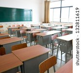 empty classroom with chairs ... | Shutterstock . vector #132811619