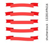 vector red ribbon banners set.... | Shutterstock .eps vector #1328149616