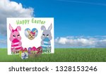 greeting card with kawaii bunny ... | Shutterstock . vector #1328153246