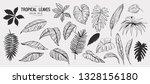 tropical leaves. set of hand... | Shutterstock .eps vector #1328156180