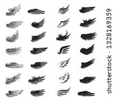 Set Of Wings Isolated On White. ...
