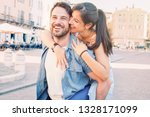 cheerful couple falling in love ... | Shutterstock . vector #1328171099