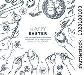 kids painting easter eggs.... | Shutterstock .eps vector #1328188103
