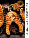 grilled salmon steak  with... | Shutterstock . vector #1328190113