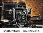 old photo devices on the old... | Shutterstock . vector #1328209316