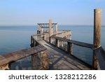 empty wooden pier  on the north ... | Shutterstock . vector #1328212286
