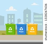 containers with waste....   Shutterstock .eps vector #1328267636