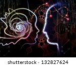 Abstract design made of lines of human head, fractal grids and technology related symbols on the subject of artificial intelligence, science, education and technology - stock photo