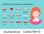 mouth sync. girl face with lips ... | Shutterstock .eps vector #1328278973