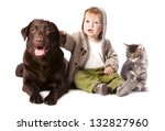 Stock photo happy kid with his pets a dog and a kitten 132827960