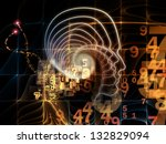 Background design of lines of human head, fractal grids and technology related symbols on the subject of artificial intelligence, science, education and technology - stock photo