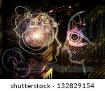 Backdrop of lines of human head, fractal grids and technology related symbols on the subject of artificial intelligence, science, education and technology - stock photo