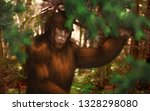 Stock photo  bigfoot hiding behind a tree branch in the forest 1328298080