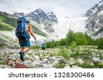 hiking in caucasus mountains ... | Shutterstock . vector #1328300486