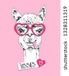 cute llama in a pink hearts... | Shutterstock .eps vector #1328311319