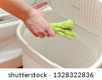 house cleaning. the girl throws ... | Shutterstock . vector #1328322836