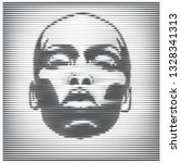 parallel line art face. african ...   Shutterstock .eps vector #1328341313