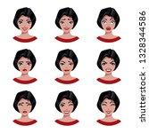 women face emotions set of a... | Shutterstock .eps vector #1328344586