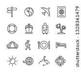 vector set of travel line icons. | Shutterstock .eps vector #1328361479