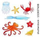 set of sea animals. vector eps8 | Shutterstock .eps vector #132837608