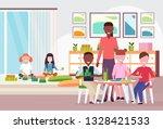 woman teacher teaching mix race ... | Shutterstock .eps vector #1328421533