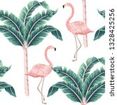 tropical vintage pink flamingo  ... | Shutterstock .eps vector #1328425256