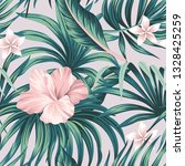 tropical pink hibiscus and... | Shutterstock .eps vector #1328425259