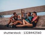 multi ethnic friends sitting... | Shutterstock . vector #1328442560