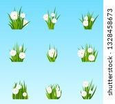 set of bunches of green grass...   Shutterstock .eps vector #1328458673