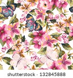 butterfly with floral seamless... | Shutterstock .eps vector #132845888