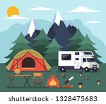 tourists people living in tent. ... | Shutterstock .eps vector #1328475683