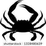 Blue Crab Silhouette Vector...