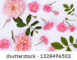 pink roses on white background | Shutterstock . vector #1328496503