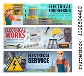 electrician tools  energy power ... | Shutterstock .eps vector #1328504480