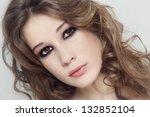 young beautiful fresh girl with ... | Shutterstock . vector #132852104