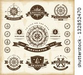 vintage nautical labels set.... | Shutterstock .eps vector #132852470