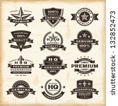 Stock vector vintage premium quality labels set fully editable eps vector 132852473